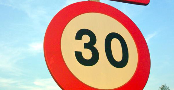 30 kph Speed Road Sign