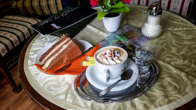 Typical coffee and cake in Hungary