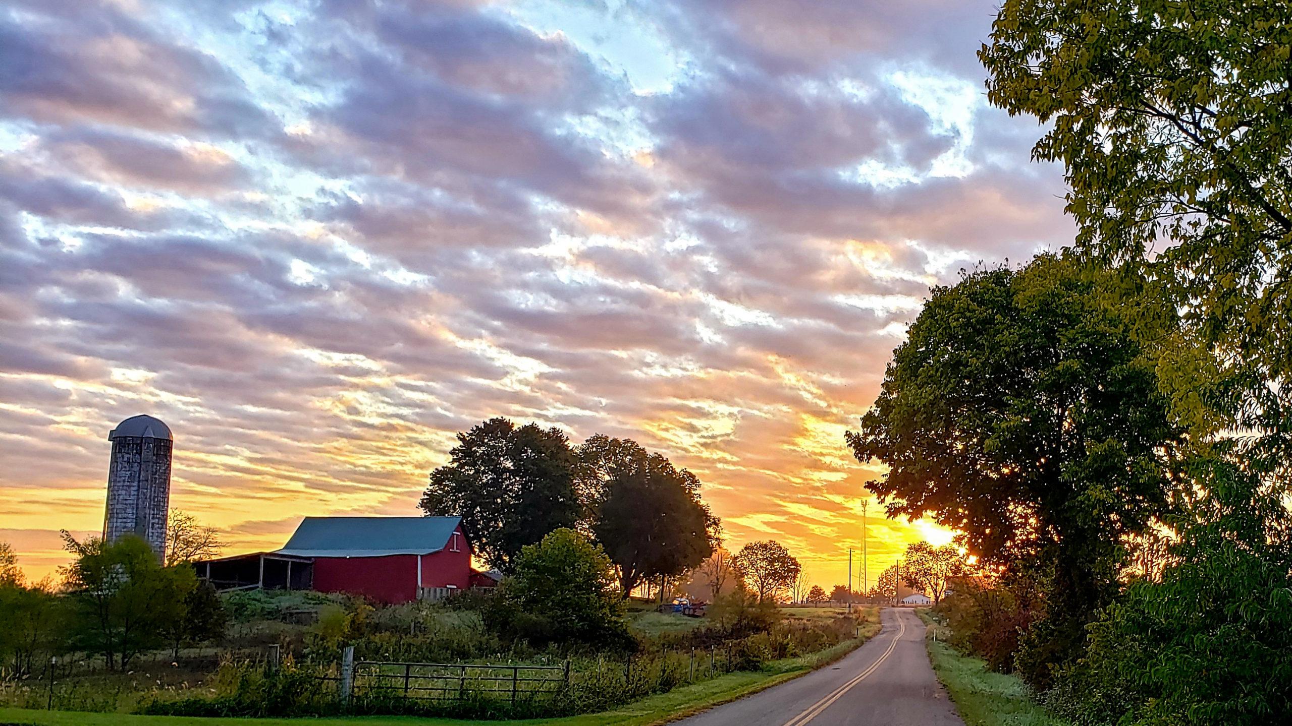 October sunrise on the farm